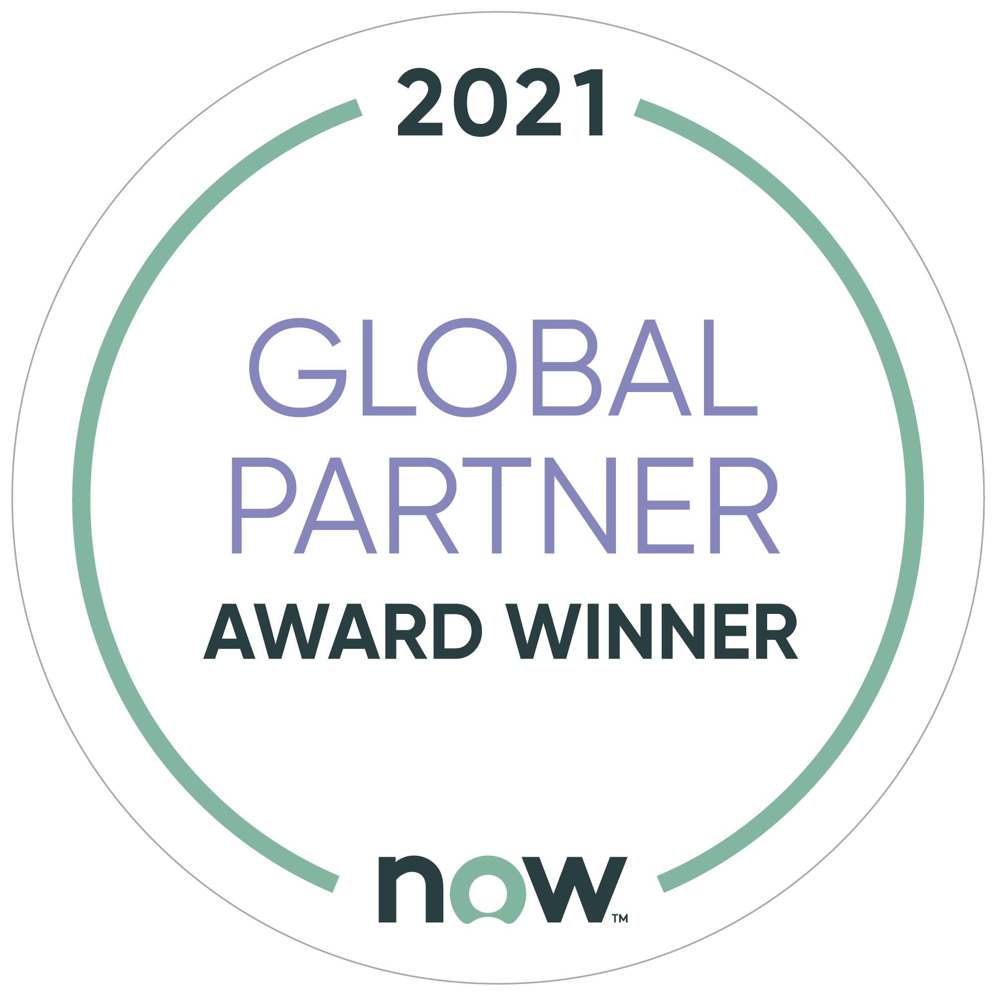 2021 Global Partner - Award Winner - ServiceNow